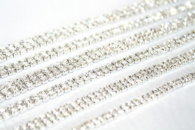 1M x SS18 Rhinestone Diamante Chain Trim Crystal Silver Decoration Crafts DIY UK