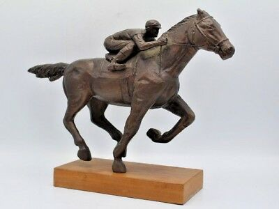 Vintage Bronze or Brass Sculpture of Jockey Riding Horse - Equestrian Horse Race