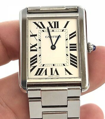 2017 Gents Cartier Tank Solo Stainless Steel Quartz Watch With Box And Booklets