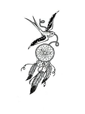 High Quality 13cm x 6cm Fake Tattoo Dreamcatcher Bird Waterproof Temporary Body