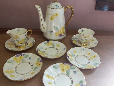 Vintage Tuscan China Part Tea Set 1930s Art Deco unusual 3205a see in