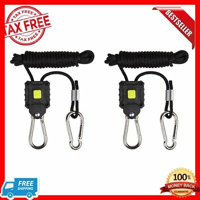 "Grow Light Ratchet Rope Hooks Hangers Adjustable Tie Down Ropes 1/8"" Pair"