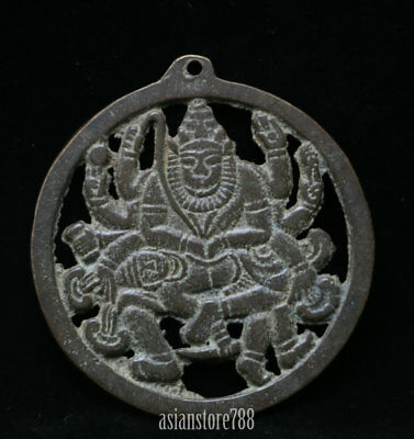 75MM Chinese Ancient Bronze 1000 Arms Avalokiteshvara of Goddess Amulet Pendant