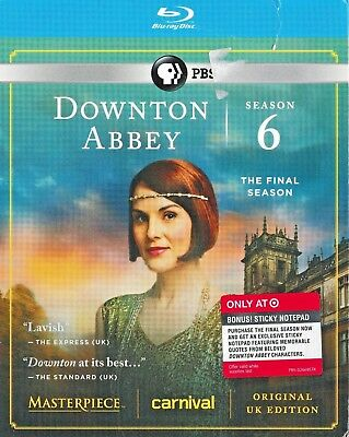 Masterpiece: Downton Abbey - Season 6 (Blu-ray Disc, 2016, 3-Disc Set)  *Sealed*