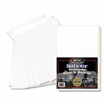 100 BCW Premade Silver Age Comic Book Poly Bags AND Boards