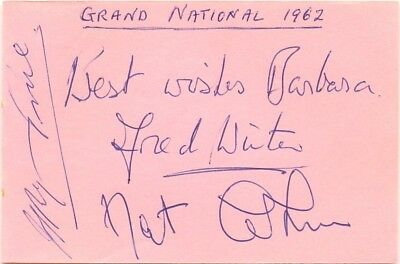 Grand National 1962 winners Fred Winter Ryan Price Nat Cohen signed autographs