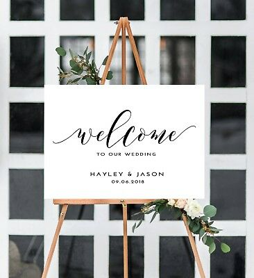 Personalised 'Hayley' A3 'Welcome to the wedding of' sign- backed/unbacked