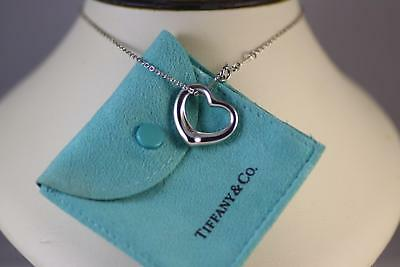 Pre-owned Tiffany & Co. Peretti Sterling Open Heart Pendant & T&Co16 inch Chain