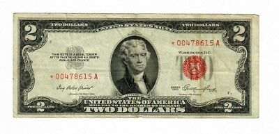 1953 $2 Two Dollar United States * Star Note * Red Seal Currency