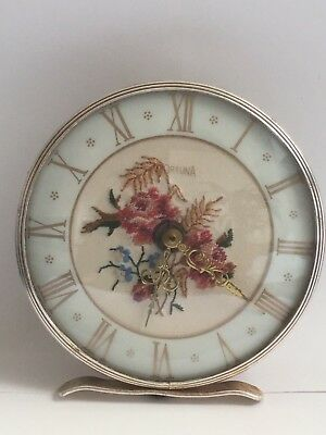 Vintage Mantle Clock Embroidered Face made in Germany