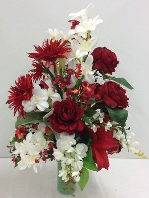 Cemetery memorial artificial mix redwhite flower arrangement in cemetery memorial artificial mix redwhite flower arrangement in styrofoam22t mightylinksfo