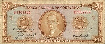 Costa Rica   20  Colones  27.8.1968  P 231a  Series  B 13  Circulated Banknote