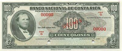 Costa Rica  100  Colones  ND. 1940's  P 212s  Series G  Uncirculated Banknote