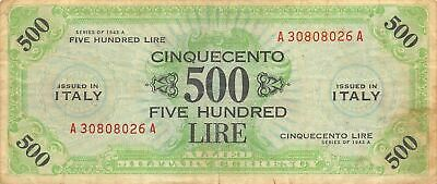 Italy  500  Lire  Series of 1943A  M22a  Series  A-A WWII Circulated Banknote