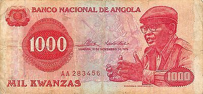 Angola 1000 Kwanzas  11.11.1976  Prefix AA circulated Banknote , G. WM2