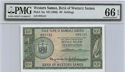 Western Samoa 10/- ND. 1963 P 13a Uncirculated Banknote PMG 66