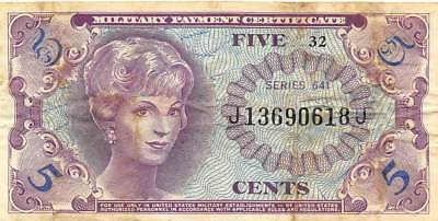 USA / MPC   5 Cents  ND. 1965  M57  Series  641  Plate 32  Circulated banknote