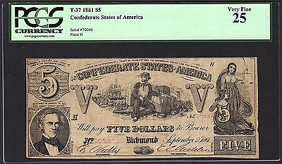 1861 $5 T-37 Confederate Currency PCGS 25 VF Civil War Note #80628452