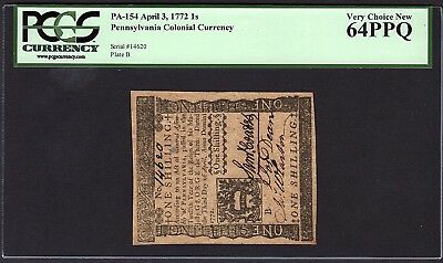 1772 Pennsylvania Colonial Note PCGS 64 PPQ PA-154 1s One Shilling