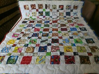 Handmade Boy Girl Pieced  I- Spy  Baby Girl Crib Lap Throw Quilt  Multi Pictures