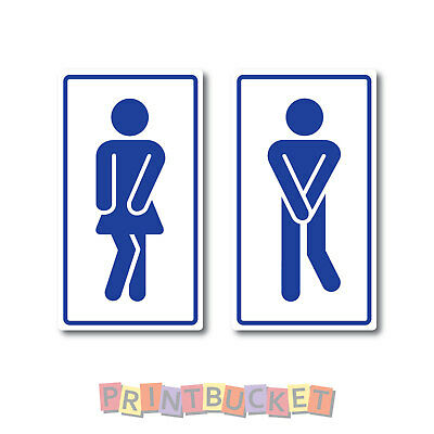 Male Female Funny Toilet Icon stickers 180mm high 2 pieces quality w/proof vinyl