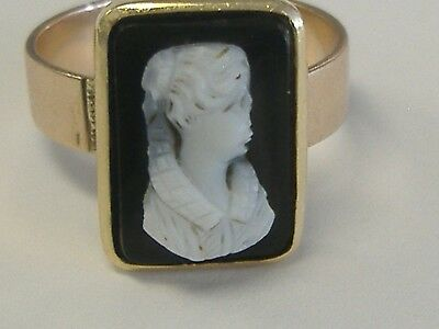Vintage   10 K  Cameo Ring  6.25 Size