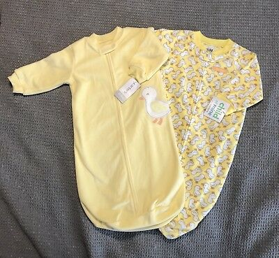 75159a9f98eb INFANT BABY BOY Girl 0-9 Months Blanket Sleeper Gowns Yellow Ducks ...