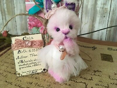 """Cute Russia artist Teddy Bear Bunny 6"""" jointed handmade OOAK toy by TAmSs"""