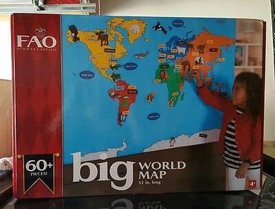 Geography history educational toys hobbies page 9 picclick new sealed fao schwarz big world map wall hanging fabric activity 52x 35 gumiabroncs Images