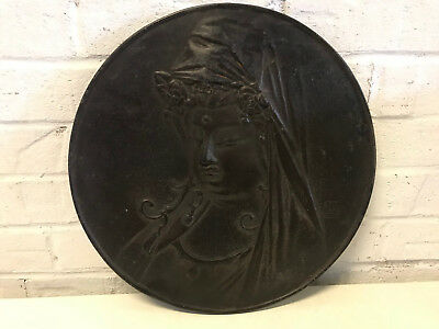 Antique Signed Chinese or Japanese Bronze Round Plaque w/ Guanyin / Buddha