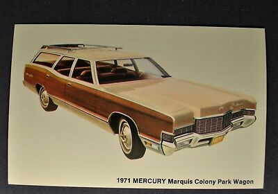 1971 Mercury Marquis Colony Park Station Wagon Postcard Brochure Excellent Orig