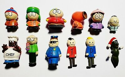 """Lot of 12 South Park 2"""" Mini Figures Keychains (Comedy Central, Fun-4-All, 1998)"""