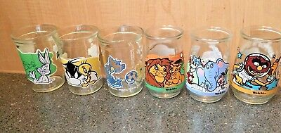 Vtg Welch's Jelly Glass Jars Disney Looney Seuss Muppets Tom & Jerry Mixed Lot 6