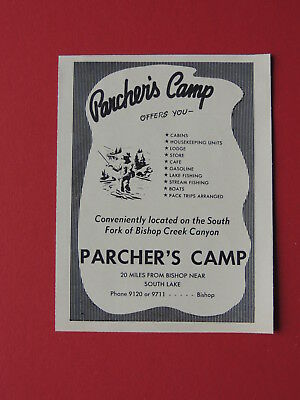 1954 Parcher's Camp On The South Fork Bishop Creek Canyon California Travel Ad