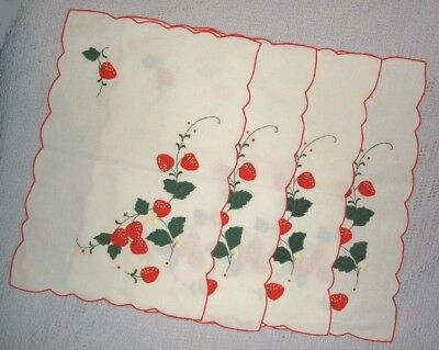4 Sweet Strawberry Linen Placemats & Matching Napkins Set Of 4