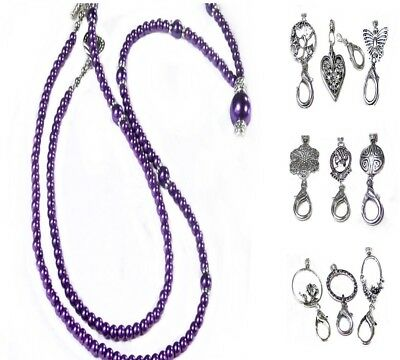 Beaded Lanyard security work id badge holder Purple Pearl Silver Choose a charm
