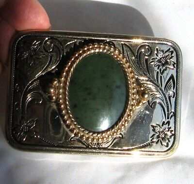 Belt Buckle Silver and Gold Tone Engraved and Green Center Polished Stone L7