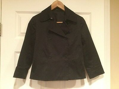 884babd69df THEORY CROPPED BLACK Trench Coat, Size 4 - $21.99   PicClick