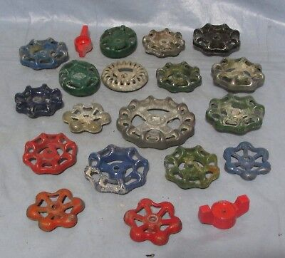 Lot of 20 Vintage Industrial Machine Age Water Valve Handles Steampunk Art used