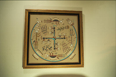 "Magnificent Large Navajo Sand Painting 29"" X 29"" Lester Johnson ""Whirling Logs"""
