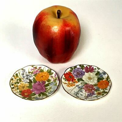 Pair of Vintage English Bone China Flower Decorated Butter Pat Plates