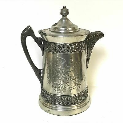 Large Antique Silverplate Ornate High Relief Water Pitcher