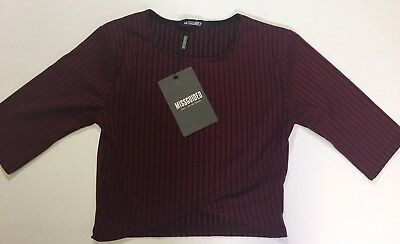 6d2c7e56e07dd New Crop Top Size 2 Missguided UK Burgundy Black Stripped Summer Cool NWT