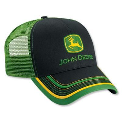 JOHN DEERE *BLACK & GREEN MESH BACK w/ACCENTS* HAT CAP *BRAND NEW*