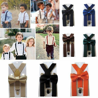 Kids New Design Colorful Suspenders and Bowtie Set Wedding Matching Ties Outfit