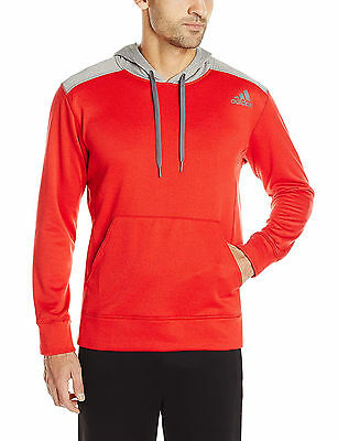 97e3546b68c5 Adidas Performance Mens Ultimate Fleece Pullover Hoodie Scarlet Char Size L  New