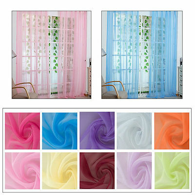 Voile Door Window Curtain Drape Panel Sheer Scarf  Valance