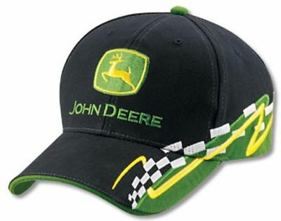 John Deere *black & Green Racing* Twill Cap Hat *brand New*