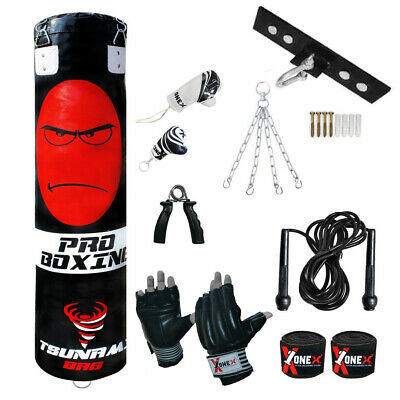 5ft Filled Heavy Punch Bag Kickboxing Set MMA Pad, Free Standing Punching Bag 1X