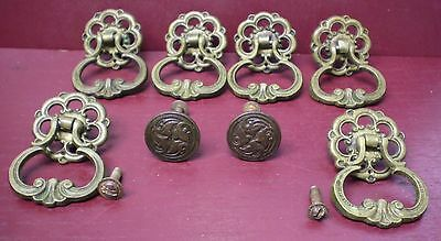 Vintage Set Brass Drawer Drop Pulls Handles Original Slotted Screws #0